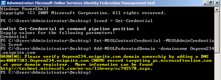 Adding a federated domain