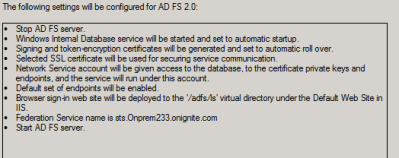 Configuration changes set by ADFS Configuration Wizard