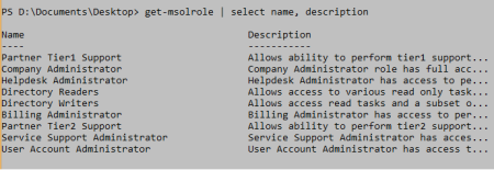 Get-MsolRole output